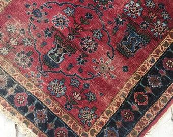 "3'3""x5'4"" Antique Persian Rug, distressed rug, worn rug"