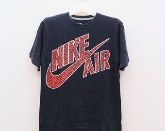 Vintage NIKE AIR Sportswear Big Logo Big Spell Black Tee T Shirt Size M