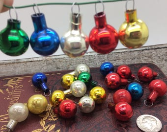 Set of 25 Small Vintage Miniature Mercury Glass Christmas Ornaments