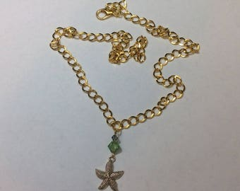 """Necklace for women """"Starfish and its crystals 2"""""""
