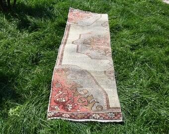 Runner Area Rug Free Shipping Vintage Turkish Rug 1.8 x 7.2 feet Area Rug Anatolian Wool Rug Oushak Rug Bohemian Floor Rug DC435