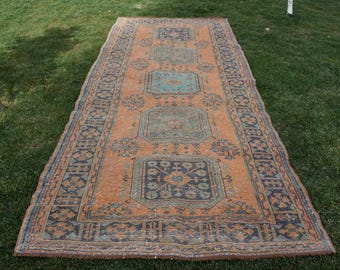Türkischer Läufer Teppich Free Shipping 5.1 x 11.8 feet Oushak Runner Rug Tribal Runner Area Rug Area Rug Aztec Rug Rustic Wool Rug DC945