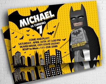 Lego Batman Invitations, Lego Birthday Invitation, Lego Invitation, Batman Invitations, Batman Birthday Invitation, Batman Invitation
