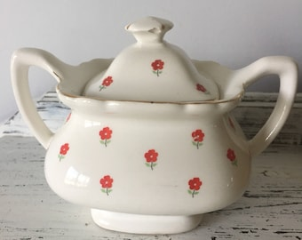 WS George Lido White with Red Flowers Sugar Bowl