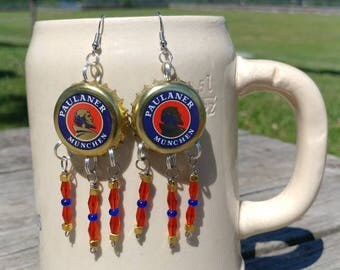 Paulaner Munchen beer bottle cap earrings with red, blue, and gold beads