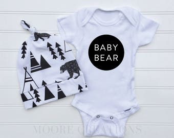 BABY BOY ONESIE | Onesie Set | Baby Bear | Jersey Knit | Baby Hat | Top Knot Hat | Baby Shower Gift | Baby Clothing