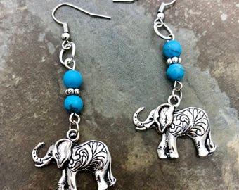 Elephant turquoise beaded dangle earrings