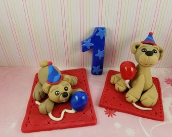 First Birthday bears with balloons edible fondant with number 1 cake topper