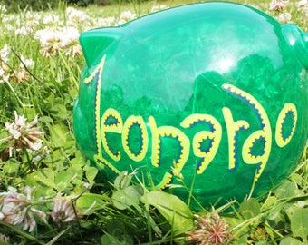 Personalised Piggy Bank - Transparent Green Hand Drawn Money Box / Save / Birthday / Wedding / Travel / Christening / Christmas / Kid's Gift