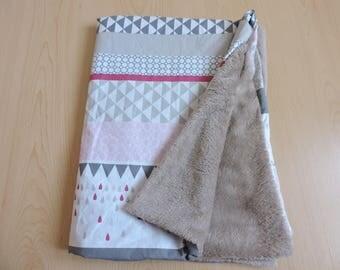 Plaid blanket pink geometric whitegrey taupe soft