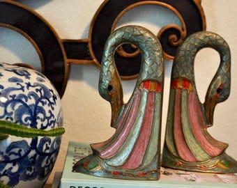 Vintage Brass Swan Bookends, Boho Multicolor Geese, Ducks, Bohemian Decor