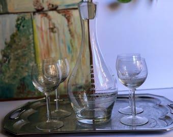 "SALE // Vintage Cut Glass Sailing Ship Decanter + 4 Wine Glasses, Set, Sailboat Ship, Krosnienskie Huty Szkla ""Krosno"" Glass"