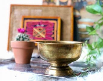 Brass Bowl with Pedestal