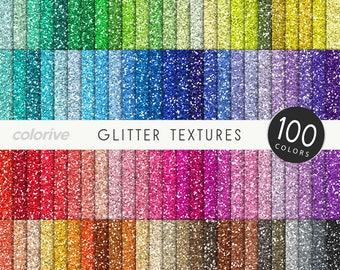 Glitter digital paper 100 rainbow colors glitter textures metallic brights pastels pink printable scrapbooking paper