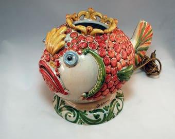 Traditional Sicilian Baroque Table Lamp - Fish shape