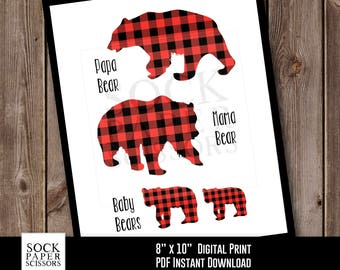 Bear Printable, Bear Family, Papa Bear, Mama Bear, Baby Bear, Red Plaid Bear Print Printable Print, PDF Digital Download, Sku-RHO129