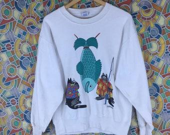Rare!!! Vintage Bkliban Sweatshirt Crazy Shirt USA Hawaii Hawaiian Cat Fishing