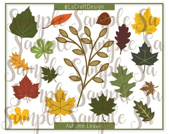 SVG Set of 17 Leaves of two layers, Paper Flower Leaves, Paper Autumn/Fall Leave, Leaves Template, Cricut/Silhouette Ready