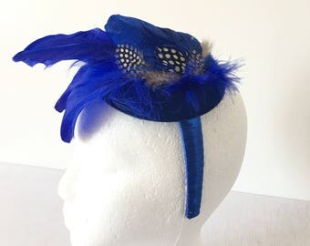 Royal Blue Mini Fascinator Hat, Wedding Hat, Tea Party Hat, Derby Hat, Church Hat