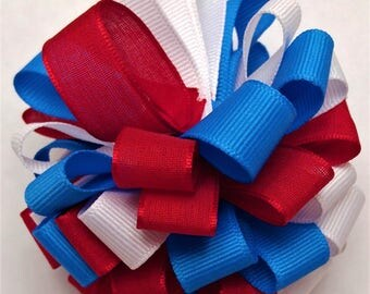 Red, white and blue hair bow