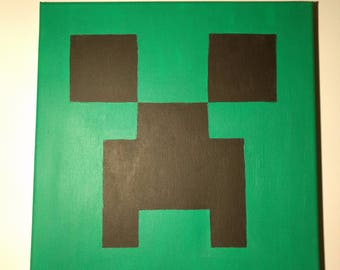 "Minecraft Creeper Acrylic Painting 12""x12"""
