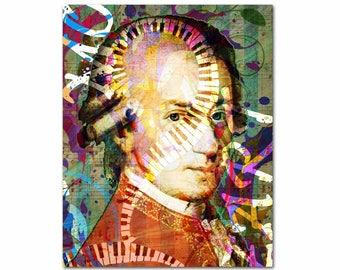 Mozart, Wolfgang Amadeus Mozart, Composer, Music Print, Music Gift, Apartment Prints, Classical Music, Classical Composer, Mozart Art