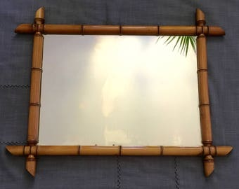 Large mirror wood faux bamboo mirror Fake french bamboo
