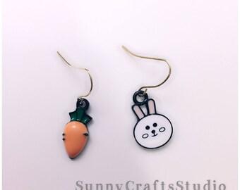 Rabbit and carrot earrings , bunny earrings , carrot earrings