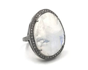 AAA Moonstone diamond ring, Sterling silver ring, Diamond ring, Size 6, Moonstone jewelry, Diamond jewelry, Statement ring, Oval ring