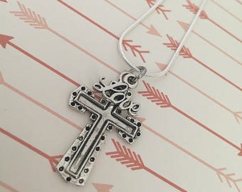 Love Cross Necklace (Silver) // Christian Jewelry