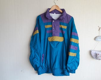 Vintage anorak jacket women large, 90s anorak, vintage womens clothing, womens windbreaker large, 90s windbreaker, windbreaker women