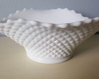 Vintage milk glass bowl, westmoreland, wedding, boho