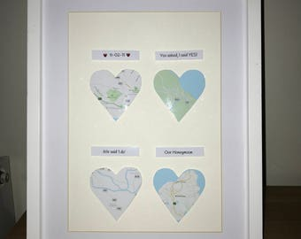 Heart Map Picture, personalised