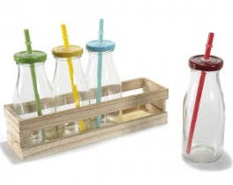Set 4 glass jars with straw, Cork and wood tray