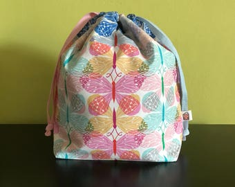 "Handmade drawstring bag / pouch for knitting crochet project 10"" x 7.5"" x 3.5""  *Butterflies butterflies*"
