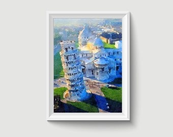 Pisa Tower Italy Watercolor Painting Art Printable Q103