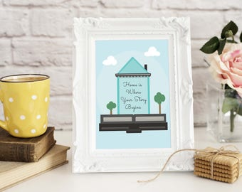 Home is Where Your Story Begins Printable Art - Home Decor - Family Room Printable - Printable Wedding Gift - Printable Housewarming Gift