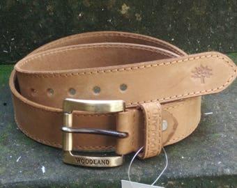 WOODLAND Leather Belt, Full Grain Leather Belt, Brown Leather Belt, Mens Leather Belt, Womens Leather Belt