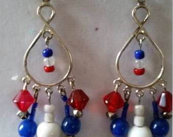 Red white blue tear drop peirced earrings