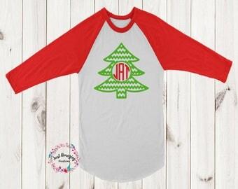 Christmas Tree Monogram Raglan, Christmas Monogram Raglan, Monogram Shirt, Monogram Raglan