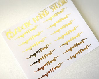 Important SCRIPTS - FOILED Sampler Event Icons Planner Stickers