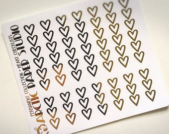 Heart Checklists - Premium Permanent Collection - FOILED Sampler Event Icons Planner Stickers