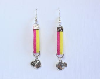 """Clearance * Silver earrings """"Apple"""" - suede cords"""