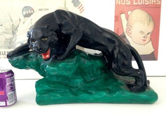 Art Deco plaster statue Black Panther on his rock. Year 1950