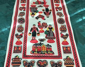 Vintage Linen Printed Kitchen Tea Towel Penna Dutch Man Woman Never Used T50