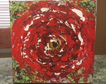 Abstract Red Floral Painting
