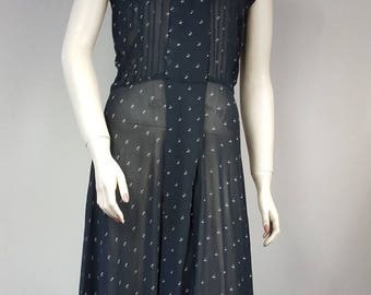 Sheer Black Button Up Knee Length 80s 90s Print Summer Dress Size 4 Union Made in USA