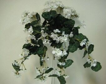 "CREAM Geranium Hanging Bush 24"" Artificial Silk Flowers 305CR"