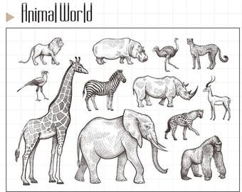 Animal Clear Rubber Stamp Set w/ lion, hippo, ostrich, jaguar, rhino, giraffe, zebra, elephant, gorilla, hyena, gazelle,