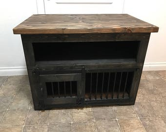 Side Table w/ barn door and shelf/thick top